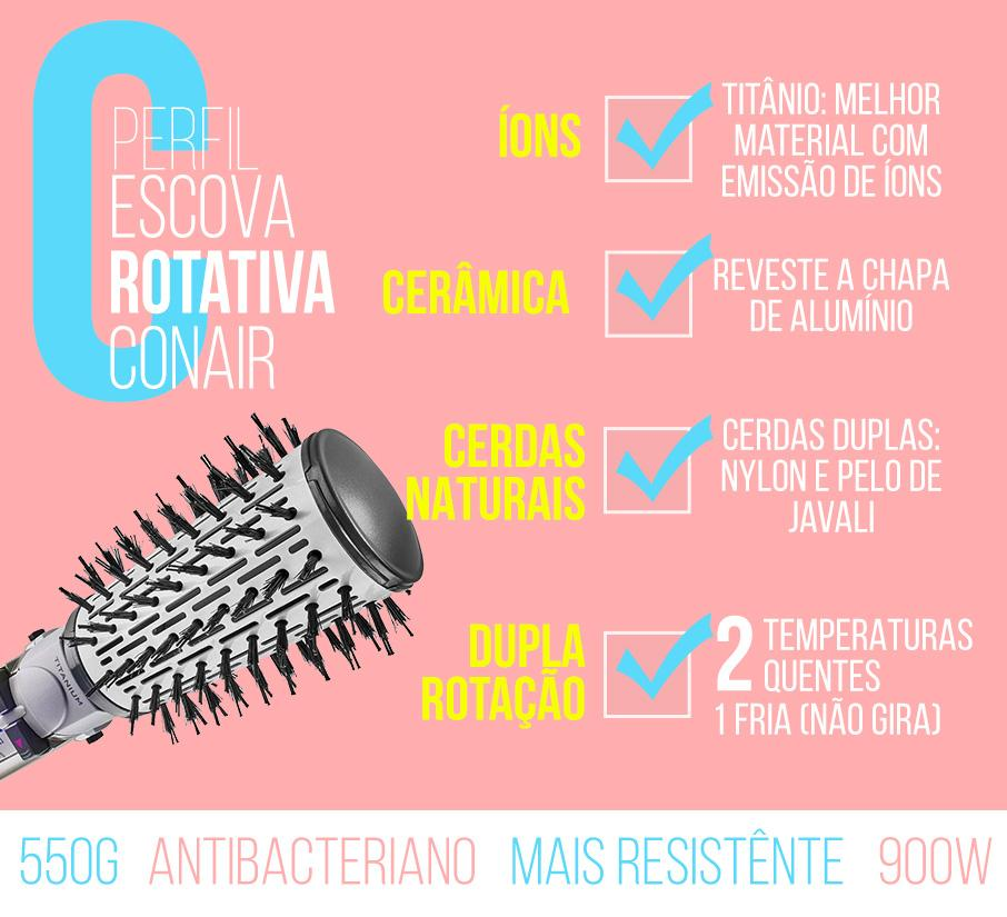 escova rotativa air brush titanium conair polishop