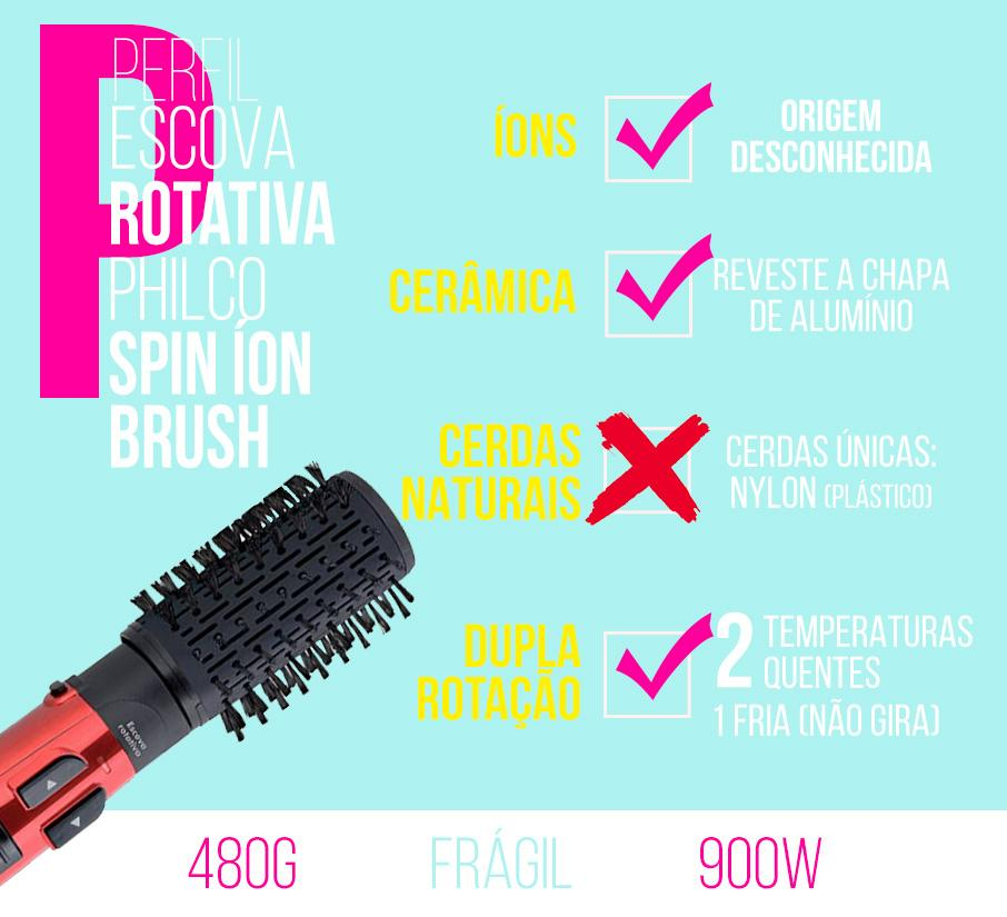 escova rotativa philco spin íon brush